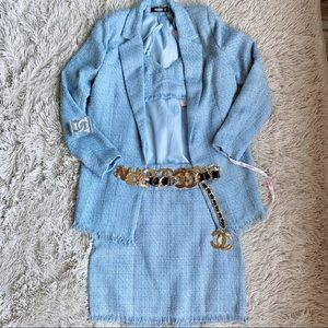 MISSGUIDED Baby Blue Tweed Boucle Blazer